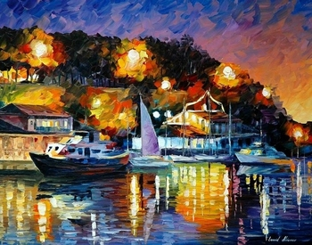 14/16/18/27/28 Top Quality colorful classical counted cross stitch kit port at night harbour sailing ship painting image