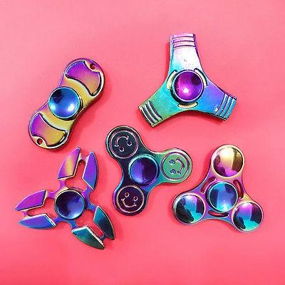 Rainbow Hand Spinner Metal Fidget Toy EDC Focus ADHD Autism Finger Gyro