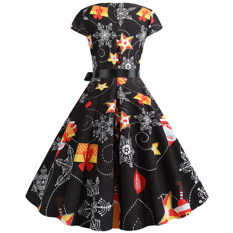 Women Christmas Party Dress robe femme Plus Size Elegant Vintage Short Sleeve Xmas Summer Dress Black Casual Midi Jurken Vestido 710