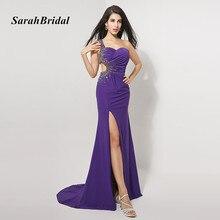 Real Pictures Elegant A Line One Shoulder Split Front Long Evening Dresses With Crystals vestido de