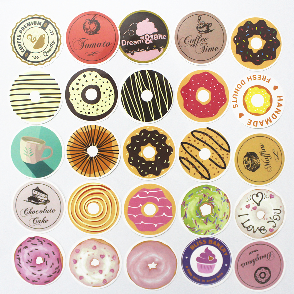 35pcs Donuts font b toy b font sticker Gift posted Baking Decoration label waterproof Doodle coffee