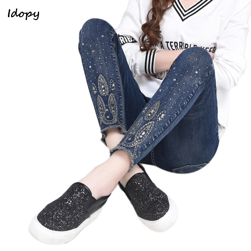 Idopy New Ankle-Length Jeans Floral Rhinestone Elastic Slim Fit Large Size Pencil Pants Vintage Casual Denim Jeans For Women ankle length elastic mens pencil pants