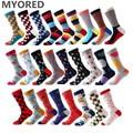 MYORED brand new men's socks colorful combed cotton crew socks Jacquard striped knee high socks for man business causal dress
