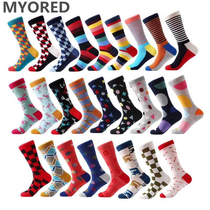 MYORED brand new men's socks colorful combed cotton crew socks Jacquard striped knee high socks for man business causal dress