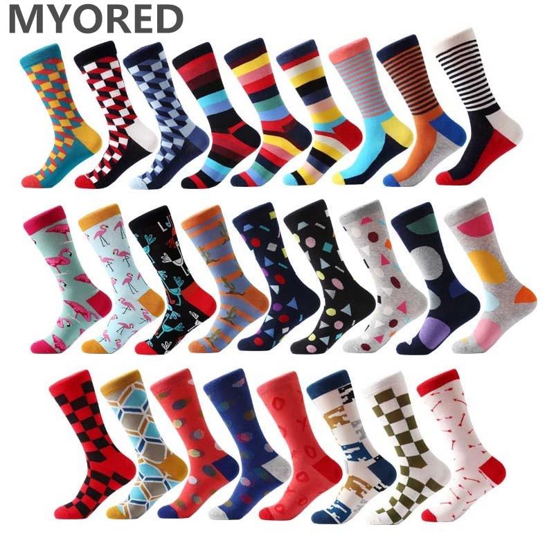 MYORED Новые мужские носки, цветные хлопковые носки, жаккардовые полосатые носки до колена для мужчин, деловая повседневная одежда