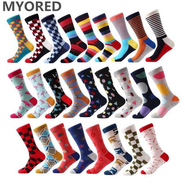e47dddb5308e92 MYORED brand new skarpety męskie kolorowe skarpetki bawełniane żakardowe  paski kolana wysokie skarpety dla mężczyzn business
