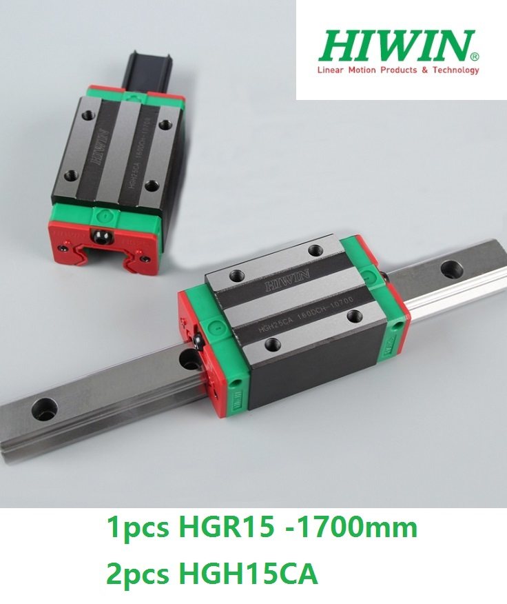 1pcs 100% original Hiwin linear guide linear rail HGR15 -L 1700mm + 2pcs HGH15CA linear narrow sliding block for cnc router original hiwin linear guide hgr15 l600mm rail 2pcs hgh15ca narrow carriage block