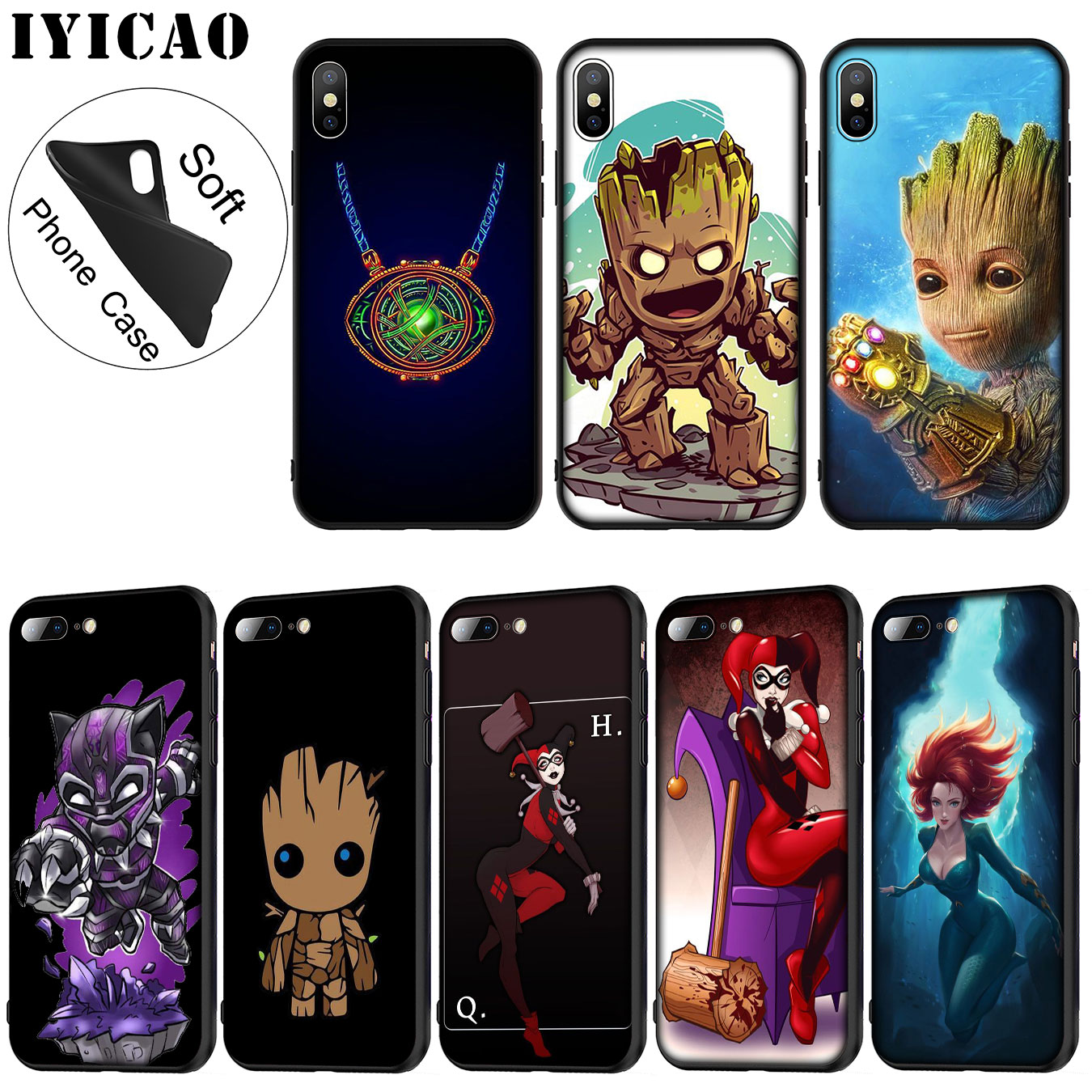 IYICAO Anime MARVEL The Avengers Soft Silicone Phone Case for iPhone XR X XS 11 Pro Max 6 6S 7 8 Plus 5 5S SE 10 TPU Black Cover