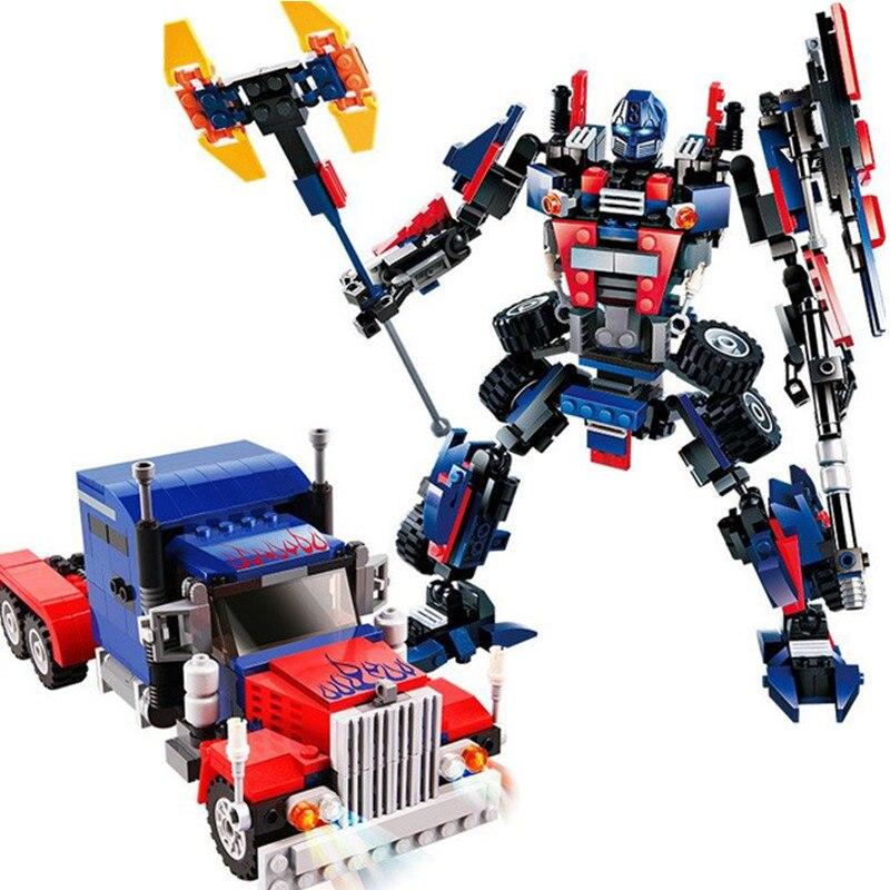 2-en-1 377 pcs Transformation Série Transformer Robot De Voiture Gros Camion Modèle de Bloc de Construction Jouet Cadeau pour les enfants garçon 8713