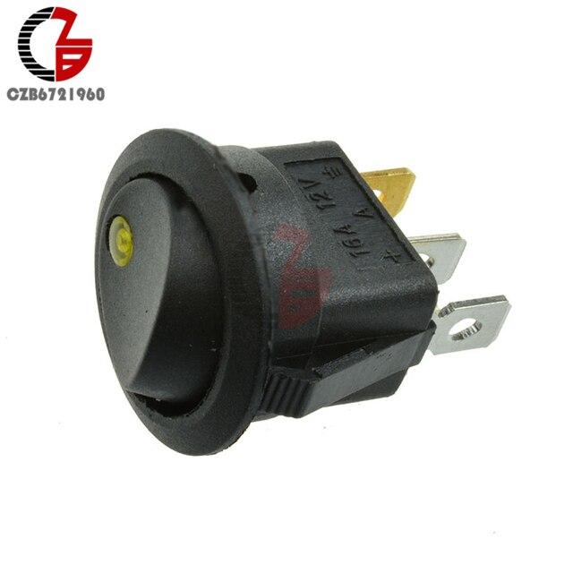 4 pièces voiture Auo bascule Swithes 12V 3Pin rond bascule marche/arrêt LED interrupteur à bascule