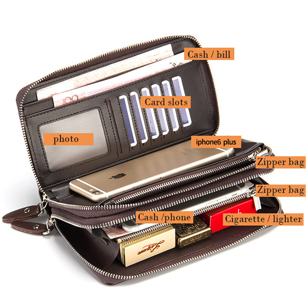 2016 New Handbag Men Long Large Capacity PU Leather Wallets Male Business Black Brown Clutch Double Zipper Wallet Bags Purses double zipper men clutch bags high quality pu leather wallet man new brand wallets male long wallets purses carteira masculina
