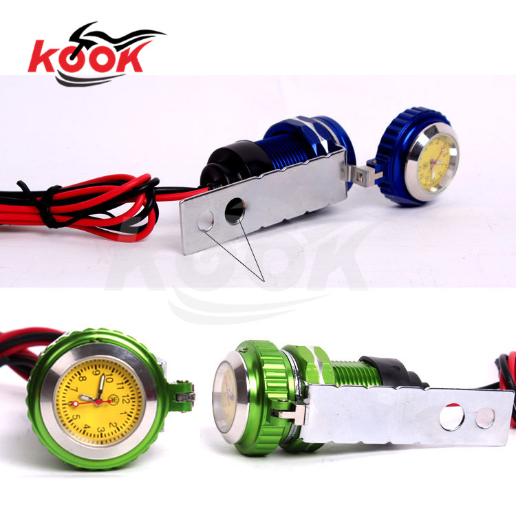 pro waterproof motorcycle clock with USB motorbike watch aluminum CNC Mount clock Car Charger Power Adapter Mobile Phone Charger