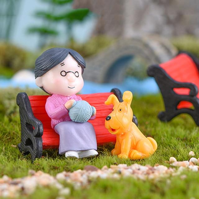 3Pc Figures Chair Grandma Grandpa Sweety Lovers Couple Ornament For Fairy Garden Figurines Miniature Christmas Home Decoration 3