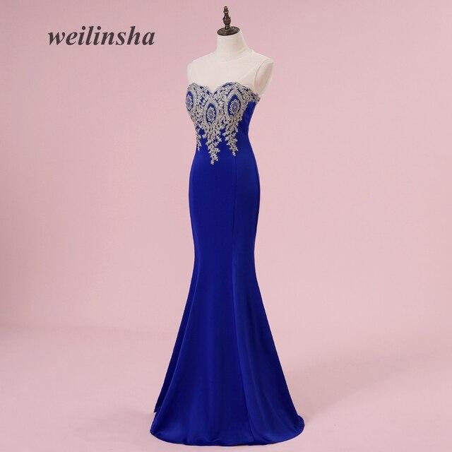 Precio más barato Weilinsha sexy sirena azul real Vestidos de noche ...