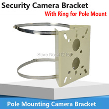 Universal Pole Mounting Bracket Arm Base holder for CCTV Security PTZ Camera Bracket clamp With Ring For Pipe LamPost Mount