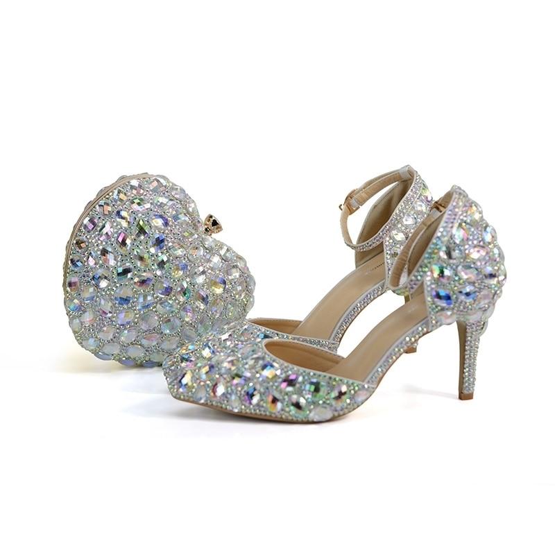 Cristal Mère Pointu 3 Bout Sac De Bag Mariée Avec Chaussures Pouces Assorti Blingbling La Robe Color Mariage With Ab 06ddwq