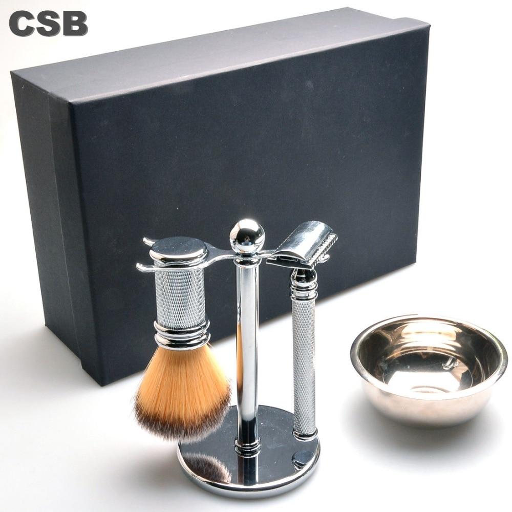 CSB Men Luxury Shaving Gift Set Double Edge Safety Razor+Synthetic Hair Shaving Brush+shave Stand+Mug Bowl Grooming Kit anbbas shaving brush luxury shave brushes 100