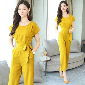 Chiffon Rompers Womens Jumpsuit Trendy Macacao Feminino Office Lady Overalls Female Summer Bow Tie One Piece Pants Salopette