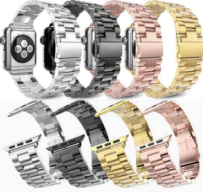 4 colors 100% Stainless Steel watchband For iWatch Apple Watch Band Strap Link Bracelet Accessories for series 1/2 38/42mm fohuas luxury stainless steel link bracelet band for apple watch series 1 2 band iwatch stainless steel strap 42mm with adapters