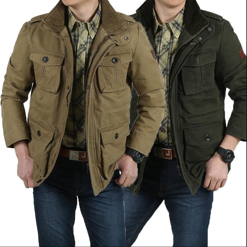 Manteau Long Style De Coton Loisirs Hommes Pur Military D'affaires khaki Veste Nouveau Green UMqpzSV