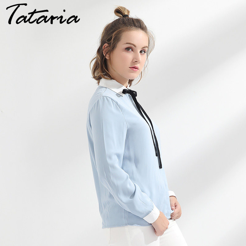 Feminine Chiffon Blouse Women Shirts Long Sleeve Causal Loose Blouses For Women Slim Elegant Tops Ladies Office Shirts TATARIA