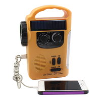 Home Emergency Outdoor Camping Solar Dynamo AM Power Bank Automotive FM Hand Crank Radios Electronics Portable LED Lamp