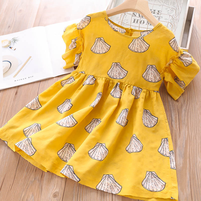 2019 Summer Girls Print Fan shaped Flower Dresses Wholesale Children s Wear