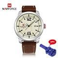 Luxo marca naviforce 9063 data homens relógio de quartzo esportes militares relógios de pulso de couro casual mens relógio masculino relogio masculino