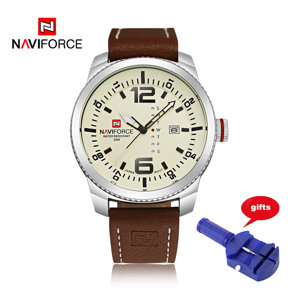 Luxury Brand NAVIFORCE 9063 Quartz Watch Men Date Casual Military Sports Watches Leather Wrist Watch Mens Male Relogio Masculino loreo casual mens watches brand luxury leather men military wrist watch fashion men sports quartz watch relogio masculino m32