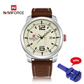 Luxury brand naviforce 9063 del reloj de los deportes militares relojes de pulsera de cuero ocasional de cuarzo reloj para hombre masculino del relogio masculino