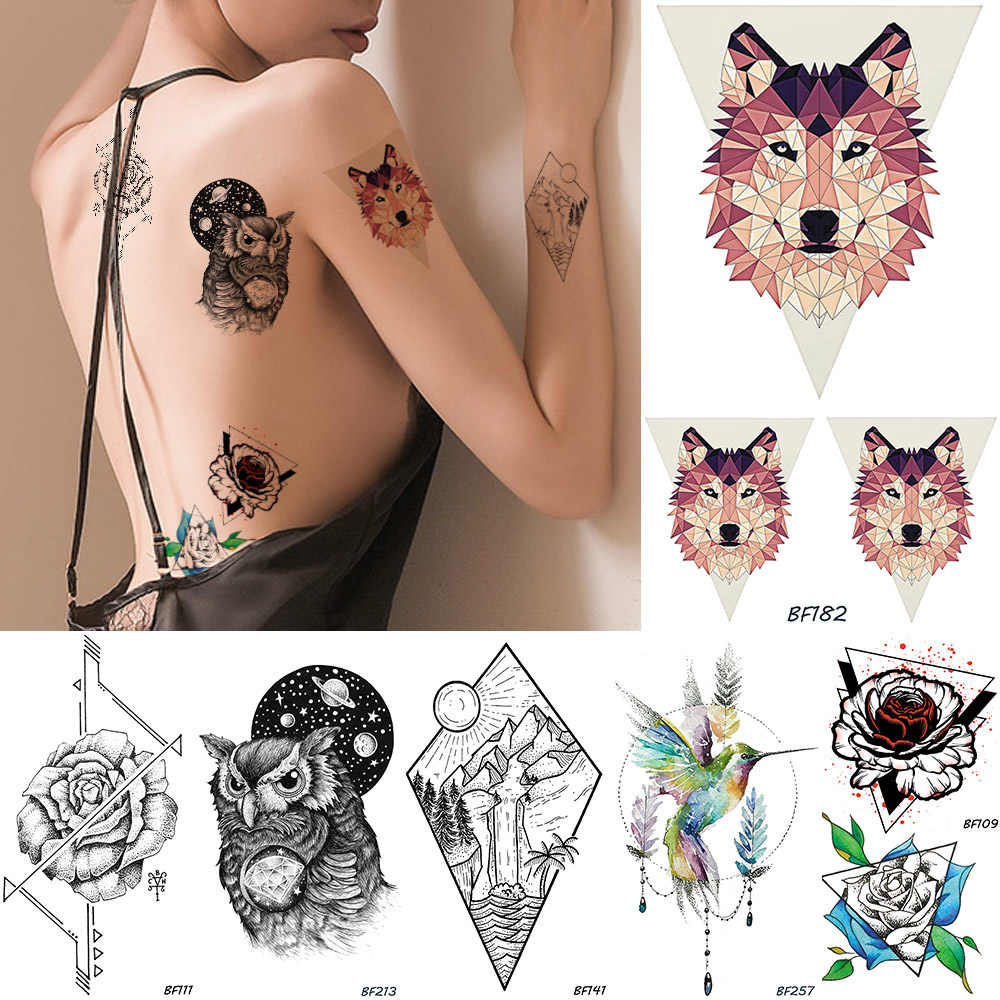 079a24a88 Flash Women Tribal Wolf Temporary Tattoo Sticker Rose Flower Owl Waterproof  Fake Tatoos Galaxy Planets Mountain