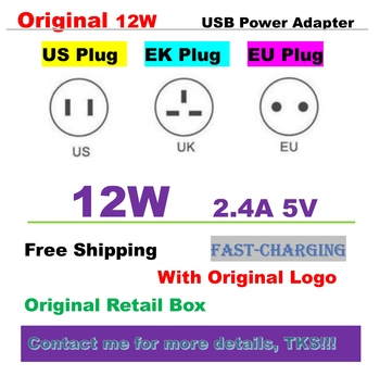 10Pcs 2.4A Fast Charging EU US UK plug Original 12W USB Power Adapter Phone Travel Home Wall Charger for pad with logo