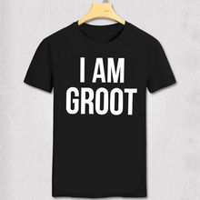 Fashion Men Marvel Movie Short T shirt Guardians of the Galaxy T-shirt I Am Groot Top Tees Free Shipping