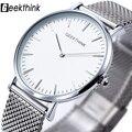 2016 Nova ultra slim Top GEEKTHINK marca Homens Casual Negócios JAPÃO Relógio Analógico De Quartzo-Relógio Homens Relogio masculino com caixa de presente