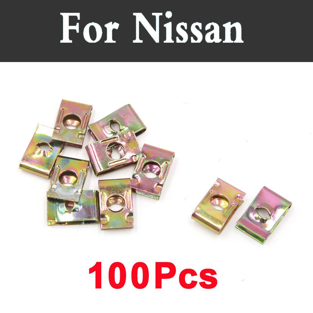 100pcs Car Styling Buckle Metal Screw Nut U-Type Clips Retainer For Nissan Maxima Micra Moco Murano Fairlady Figaro Fuga Leaf