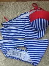 Jojo 2017 Brand New Summer Fashion Women Sexy Beach Clothing  Blue White Striped Swimsuit Swimwear Cross Bandage Bathing Suit