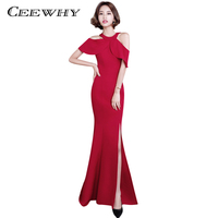 CEEWHY Mermaid Designer Evening Gowns Side Split Red Prom Dress Sexy Long Evening Dresses Imported Party