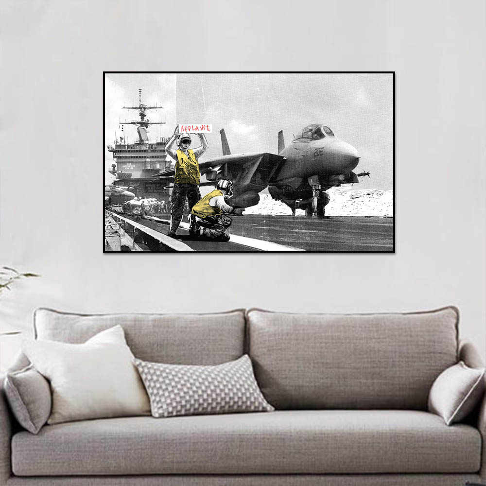 Banksy Aircraft Wall Pictures Posters And Prints For Living Room Wall Art Decoration Canvas Painting Wall Pictures For Bedroom