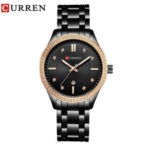 Image 2 - CURREN Hot ขาย Saat นาฬิกาผู้หญิงแฟชั่นสุภาพสตรีนาฬิกาข้อมือเหล็กเต็มรูปแบบกันน้ำสีดำ Relogio Feminino reloj mujer