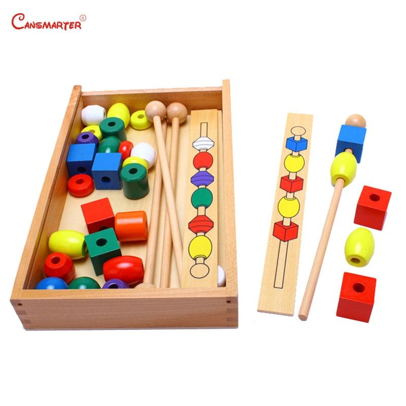Coloré Perles En Bois Montessori Sensorielle jouets éducatifs Avec la Boîte jouets préscolaires Apprentissage Forme Géométrique Pratique Jeu SE044-3