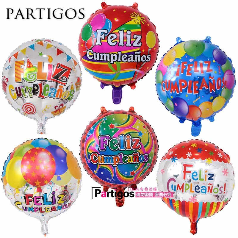 50pcs Lot 18 Balloon Design Spanish Birthday Balloons Round Mylar Helium Ballon Happy