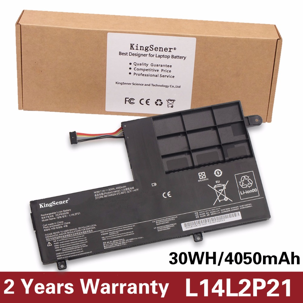 KingSener L14L2P21 Laptop Battery For LENOVO Yoga 500-14ISK S41-70 S41-75 S41-70AM-IFI S41-35 L14M2P21 2ICP6/54/90 7.4V 30WH