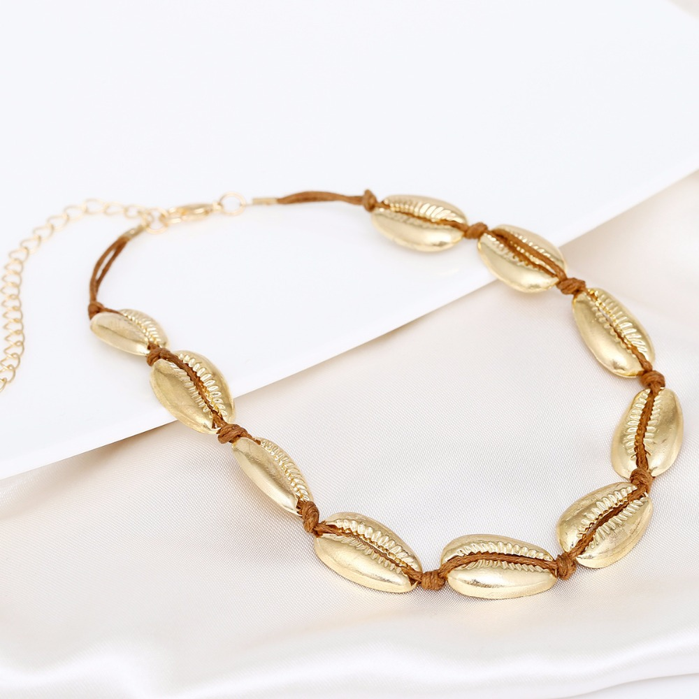 New Fashion Silver Gold Natural Sea Shell Choker Necklace For Women Female Tasse