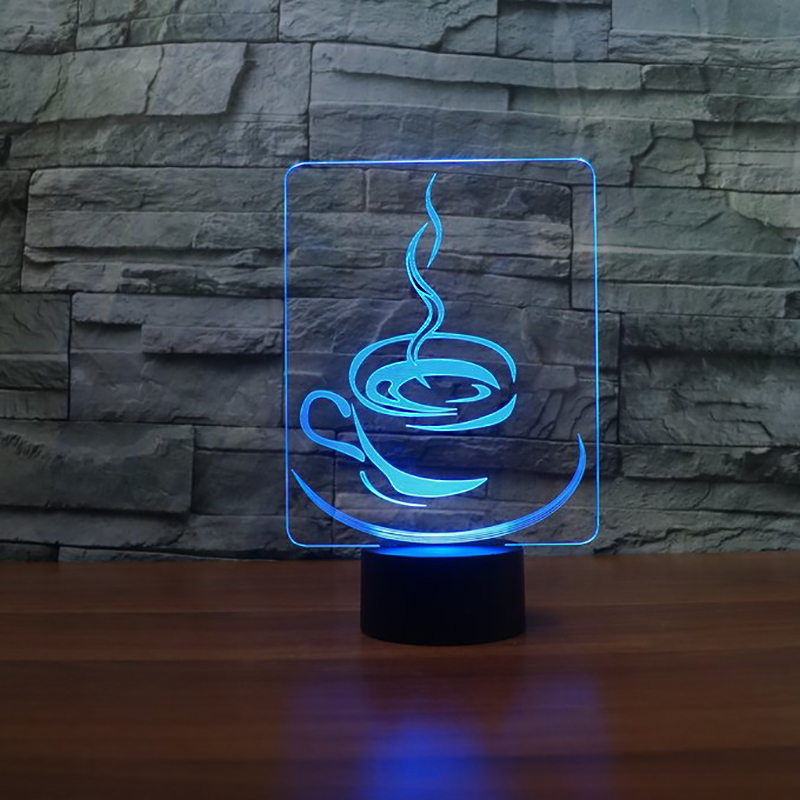 7 Colors Changing USB 3D Cup Of Coffee Night Lights LED Touch Button Light Fixture Xmas Kids Gifts Restaurant Decor Table Lamp