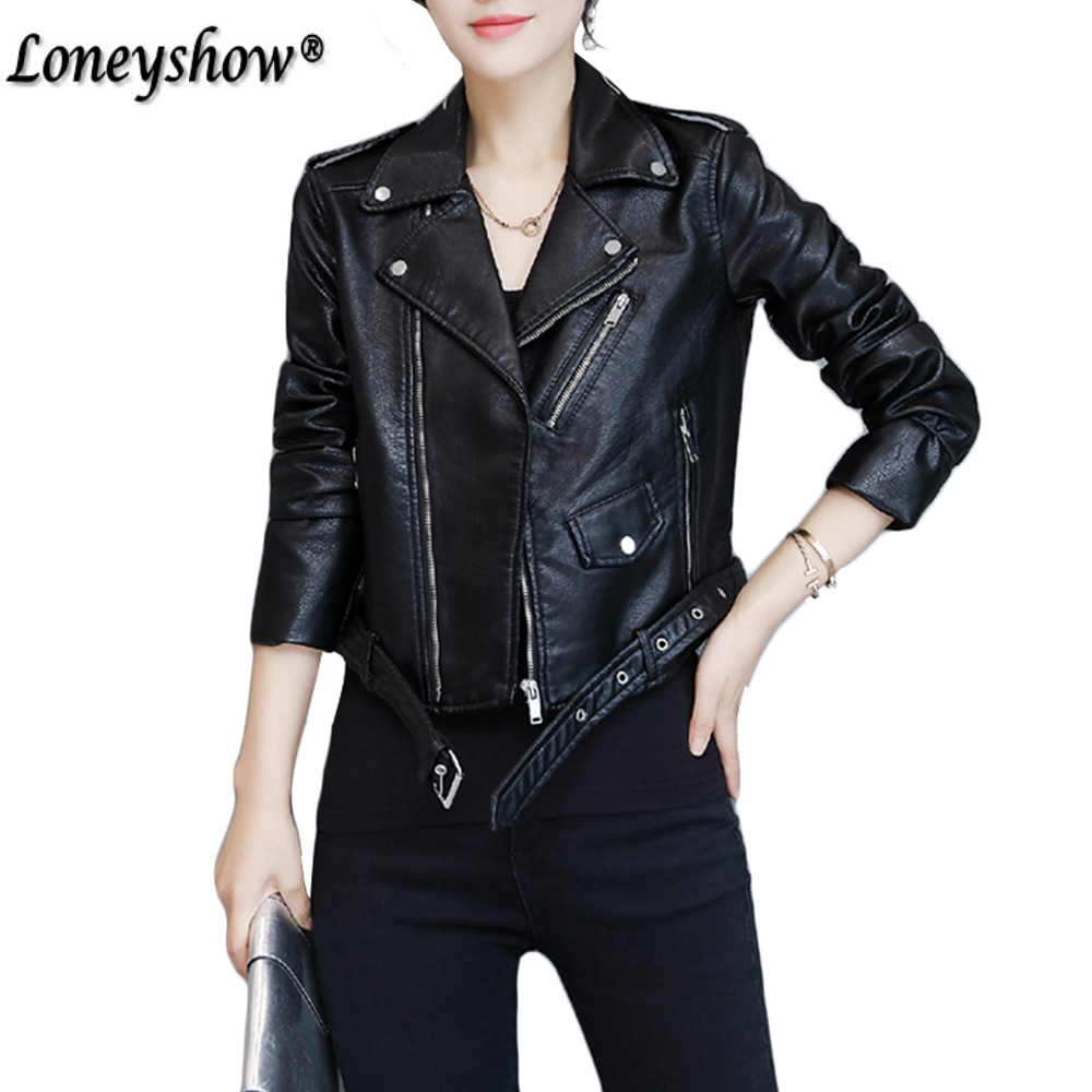 Motorcycle Black Leather Jackets Women Fashion PU Leather Coats with Belt chaqueta Bomber Blazer outwear Jack Fall jaqueta couro