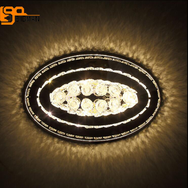 oval design LED crystal chandeliers modern crystal lamp flush mount living room bedroom lights guaranteed 100%