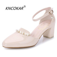 KNCOKAR 2018 Summer new amorous feelings elegant baotou thick with a word buckle female high heel34 40