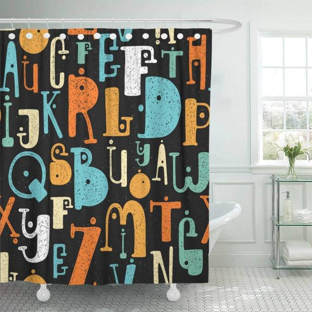 Shower Curtain ABC Hand Drawing Colorful Pattern Cartoon Grunge Style Of Alphabet Letters Abstract Decorative Bathroom