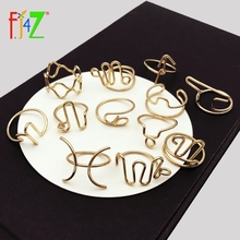 F.J4Z Hot 12 Horoscope Finger Rings Popular Gold Alloy Wire Handmade Sign of Zodiac for Women Constellation Jewelry