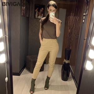Image 3 - BIVIGAOS 2019 אביב חדש נשים כותנה סרבל מקרית תשיעי הרמון מכנסיים גבירותיי צנון מכנסי עיפרון בציר מטען רופפים מכנסיים